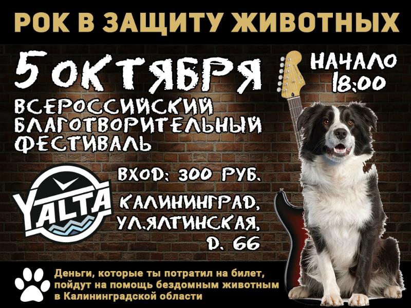 афиша Рок в защиту животных в Калининграде