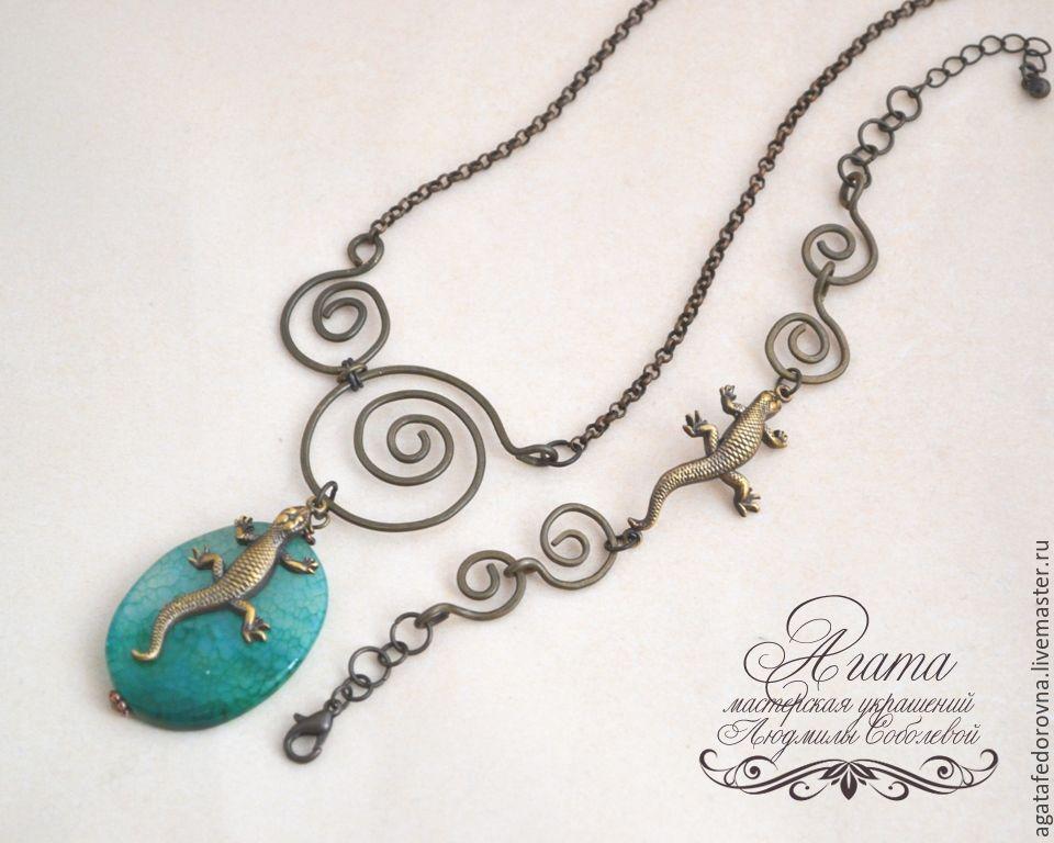украшения с ящерицей, браслет и кулон