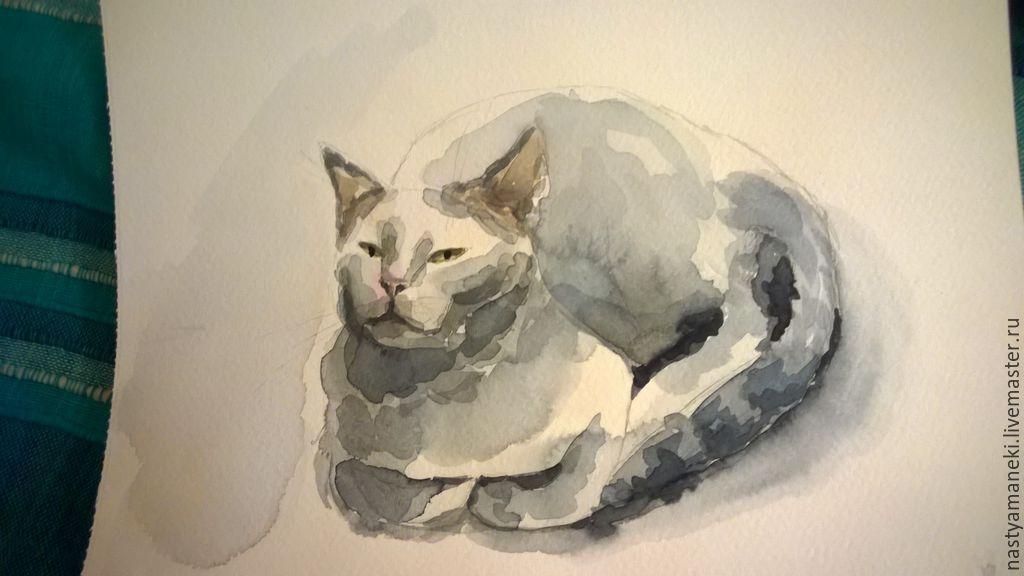 портреты кошек на заказ по фотографии