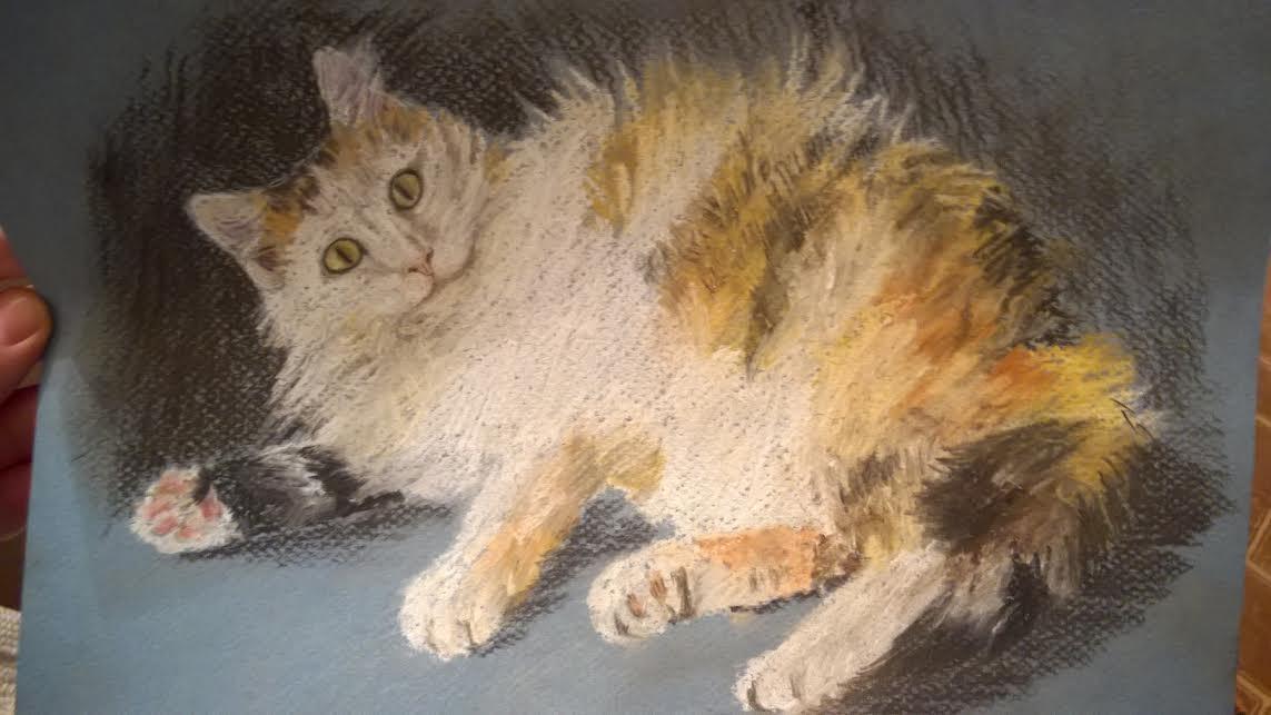 картина с кошкой пастель